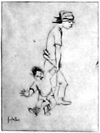mother and child - drypoint on paper